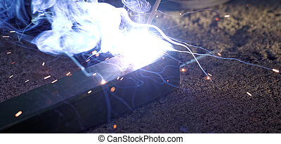 Iron Welding, Bright Light - Iron welding with bright light...