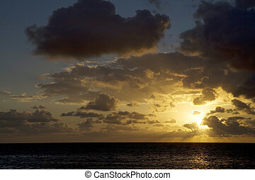 Sunrise over the Gulf in Belize - A beautiful sunrise over...
