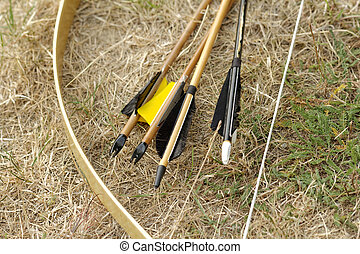 bow and arrows - color archery arrows and bow in nature on...