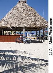 A blue bike sits in the sand on Ambergris Caye, Belize - A...