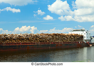 ship on the river laden wood - ship at anchor in the summer...