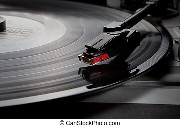 vinyl record player - Retro vinyl music audio player with...