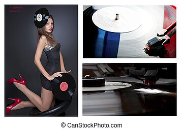 collage girl with vinil disc on bla - Beautiful girl wearing...