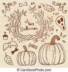 Hallowen hand-drawn set. Autumn template.