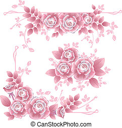 Design elements with pink silky roses - Set of separate...