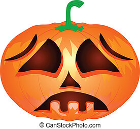 Pumpkin for Halloween isolated on the white background. Vector