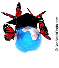 Global Education with red butterflies isolated on white...