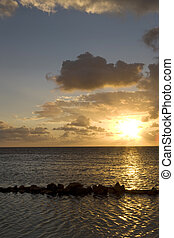 Sunrise at low tide on Ambergris Caye in the Gulf of Mexico