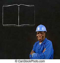 African black man worker with open book - African American...