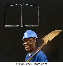 African black man worker with chalk open book on a...