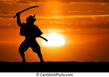 Samurai on sunset. Conceptual design.