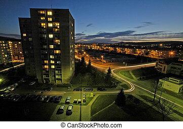 night urban scene - typical slovak housing unit, night...