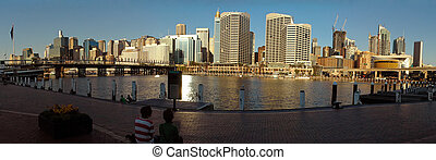 darling harbor panorama photo, pyrmont bridge and sydney...