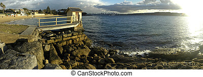 watson bay panorama in sydney, cbd in background, Camp Cove...