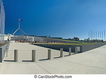 Parliament House in Canberra, visitors in distance, clear...
