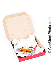 Dirty pizza box after eat on white background