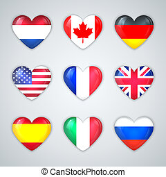 Glass Heart Flags of Countries Icon Set.
