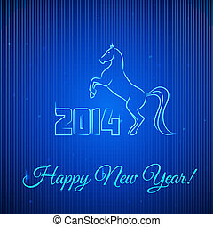 Happy New Year 2014. Illuminated Neon Horse.