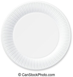 Disposable Paper Plate Isolated on White Vector Illustration...