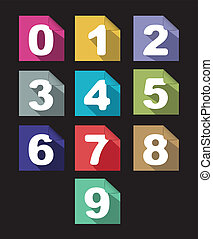 flat paper  numbers set