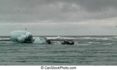 iceberg moving in streaming water at joekulsarlon in...