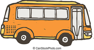 A yellow bus is parked
