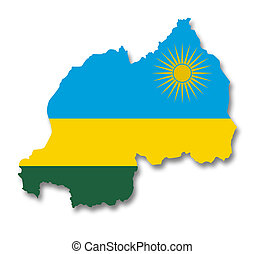 Map and flag of Rwanda - A 2D illustration of a map with a...