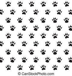 Traces of Dog. Black and White Vector Pattern.