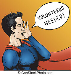 Volunteers Wanted! Cartoon Vector Illustration. - Volunteers...