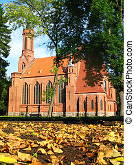 Neogothic church in autumn - Neogothic church in...