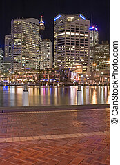 Darling Harbour - modern skyscrapers and Sydney Tower in...