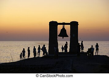 Bell - Silhouette of a bell on the shore in Sevastopol