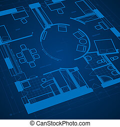 Abstract blueprint background in blue colors. Vector...