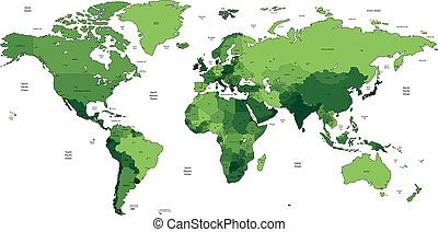Green detailed World map