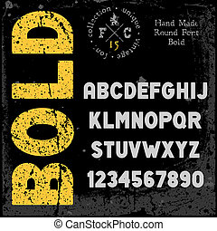 Handmade retro font. Grunge textures placed in separate...