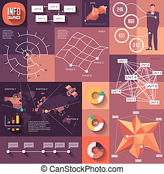 Infographics of flat design with long shadows. Fully...