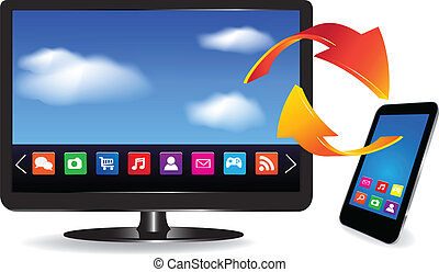 Smart TV and SmartPhone with a blue background and colorful...