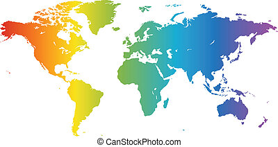 Spectral World map - Multicolored high quality vector map of...