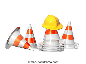 Road cones and hat