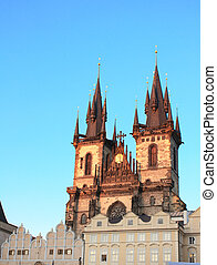 Sunset lights the side of Tyn Church, Prague - A beautiful...