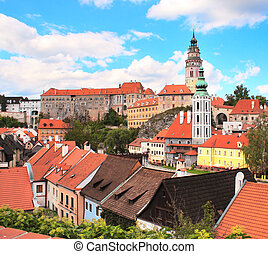 Cesky Krumlov, Czech Republic - View of old Bohemian city...