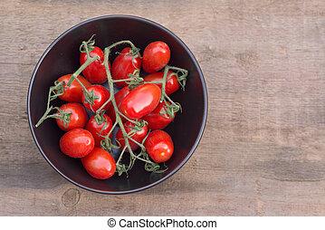 hermoso, fresco, Perino, bocado, tomates, tazón,...