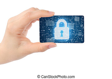 Hand with digital card and closed lock on white background