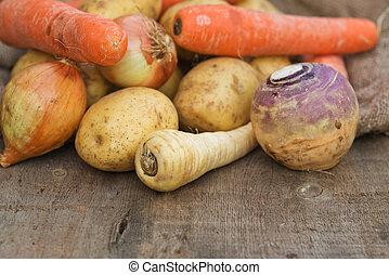 hiver, saisonnier, Légumes, collection, inclure,...