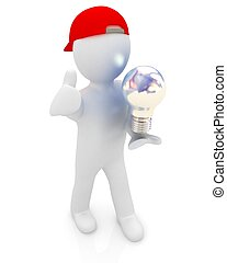 3d man with light bulb on white