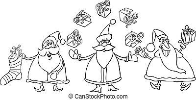 santa claus group coloring page - Black and White Cartoon...