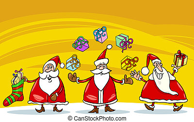 santa claus christmas group cartoon - Cartoon Illustration...