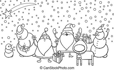 christmas characters coloring page - Black and White Cartoon...