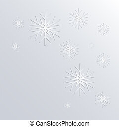 falling white snowflakes on a light background, eps10