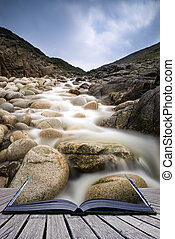 Creative concept pages of book Beautiful landscape of Porth...